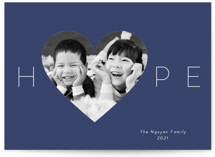 This is a blue photo christmas card by Kim Dietrich Elam called Hope Heart with standard printing on smooth signature in standard.