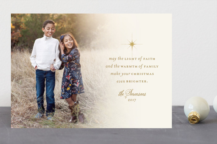 """light of faith"" - Christmas Photo Cards in Light Gold by Dawn Jasper."
