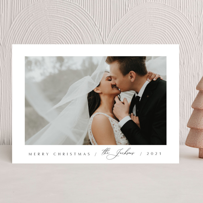 """Merry & Minimalist"" - Christmas Photo Cards in Snowfall by Nicole Walsh."