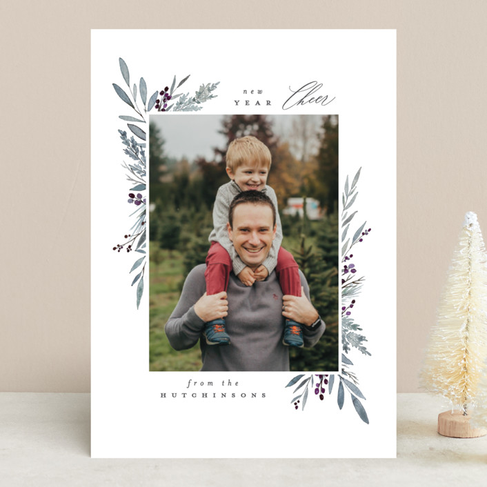 """""""Bountiful"""" - Christmas Photo Cards in Crimson by Everett Paper Goods."""