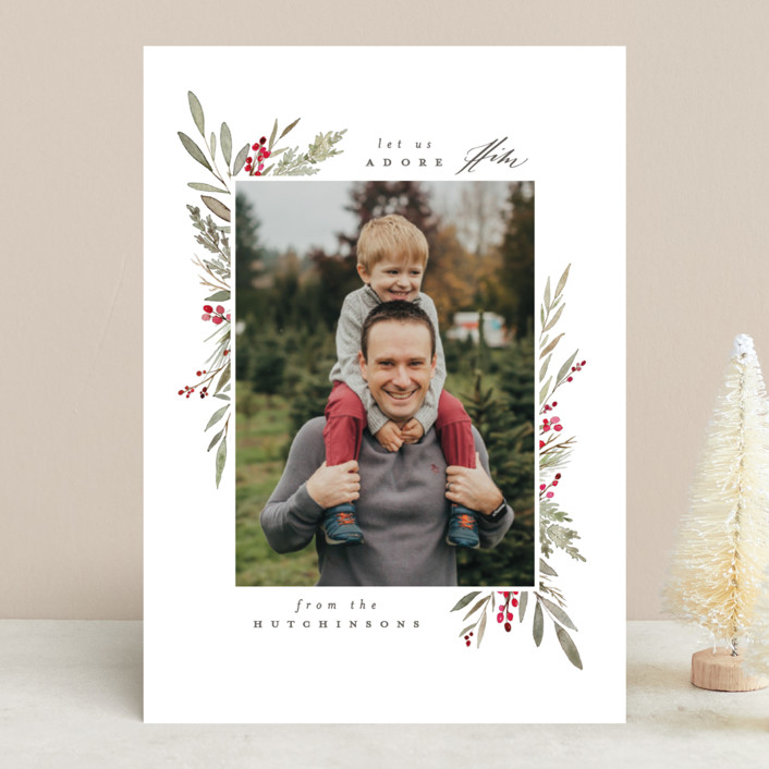 """Bountiful"" - Christmas Photo Cards in Crimson by Everett Paper Goods."