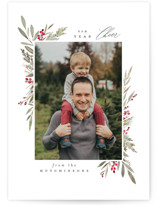 This is a green photo christmas card by Everett Paper Goods called Bountiful with standard printing on smooth signature in standard.