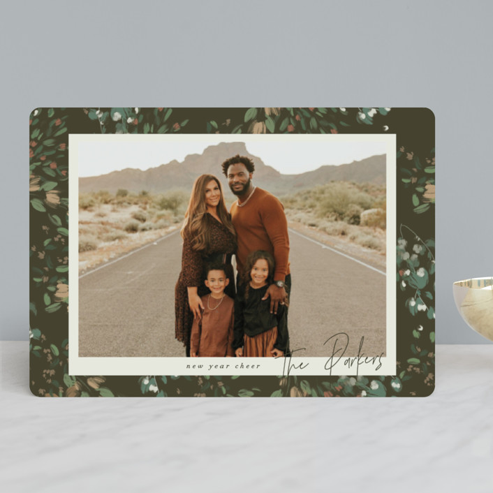 """""""Simple Floral Frame"""" - Christmas Photo Cards in Pine Forest by Grace Kreinbrink."""