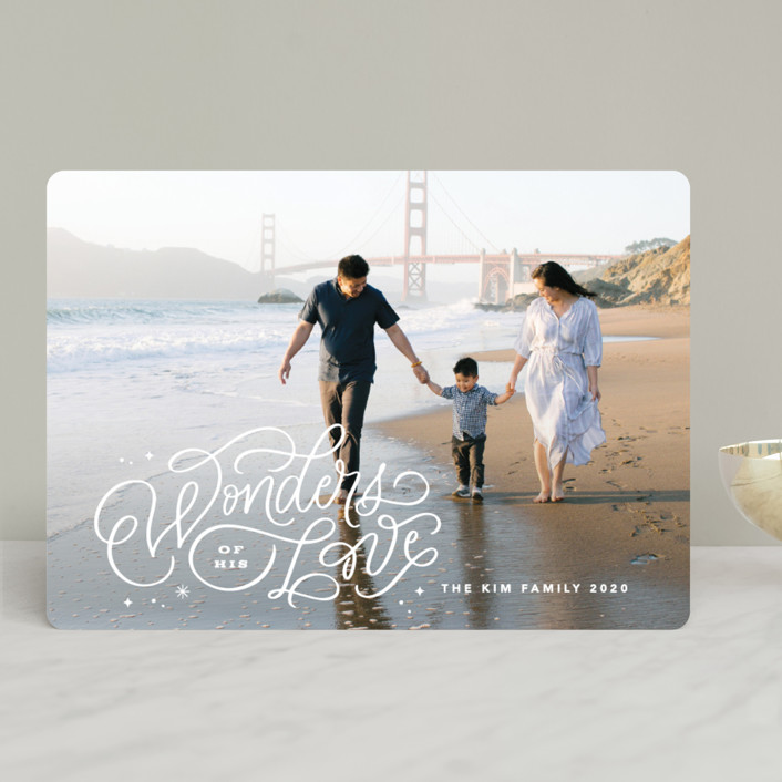 """Wonders of His Love Script"" - Bohemian Christmas Photo Cards in Snow by Kristen Smith."