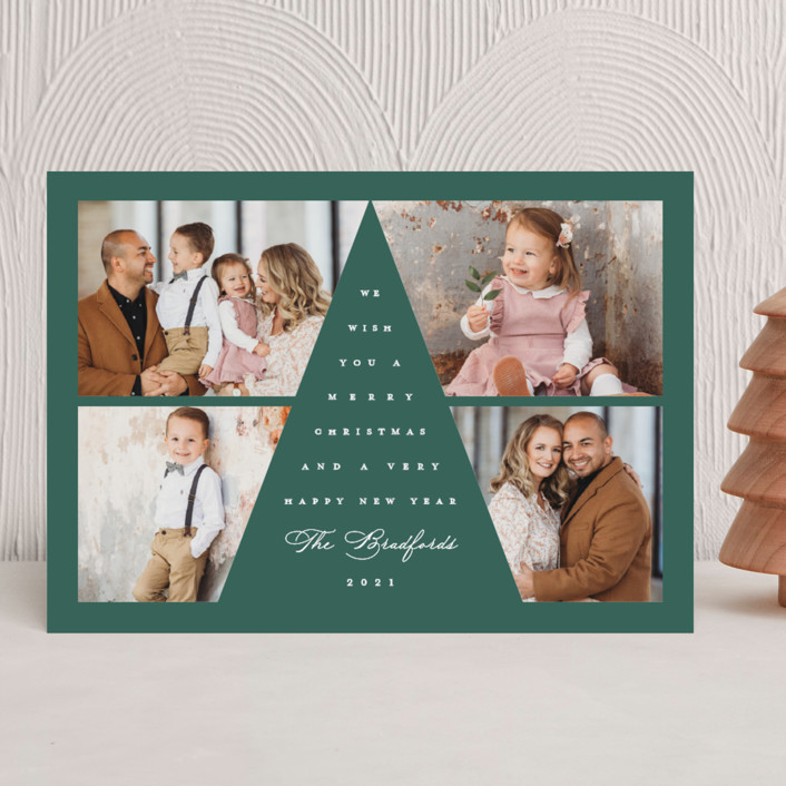 """""""Tree Top"""" - Christmas Photo Cards in Emerald by Lauren Chism."""