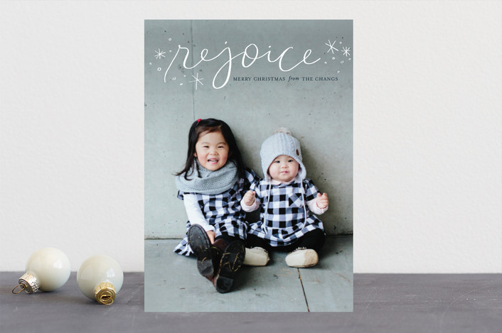 """""""Legato Rejoice"""" - Christmas Photo Cards in Marshmallow by Frooted Design."""