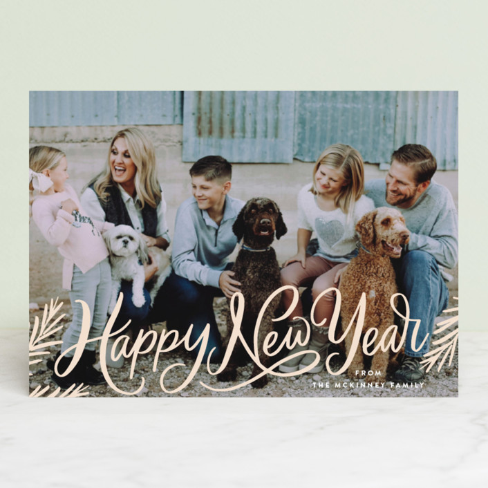 """Classic Merry Christmas Pines"" - Bohemian Christmas Photo Cards in Cream by Alethea and Ruth."