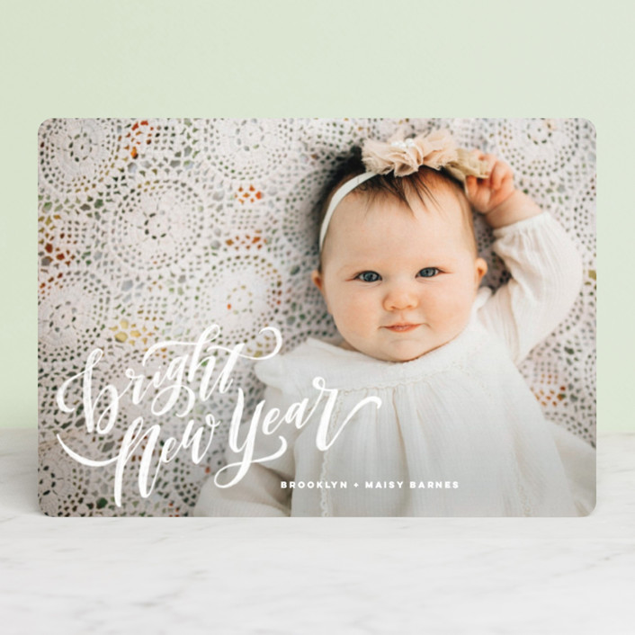 """Hand-Lettered Merry Christmas"" - Christmas Photo Cards in Vanilla by Wildfield Paper Co.."