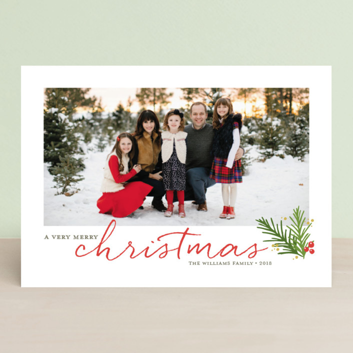"""A Merry Sprig"" - Christmas Photo Cards in Cherry Cobbler by Jessica Williams."