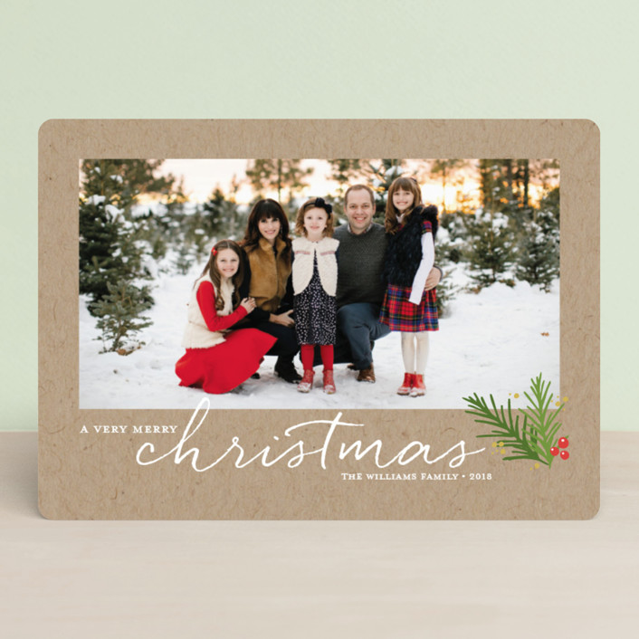 """A Merry Sprig"" - Christmas Photo Cards in Kraft by Jessica Williams."