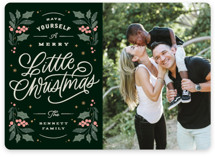 This is a black photo christmas card by Kristen Smith called Holly & Berries with standard printing on smooth signature in standard.