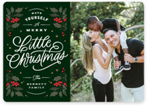 This is a green photo christmas card by Kristen Smith called Holly & Berries with standard printing on smooth signature in standard.