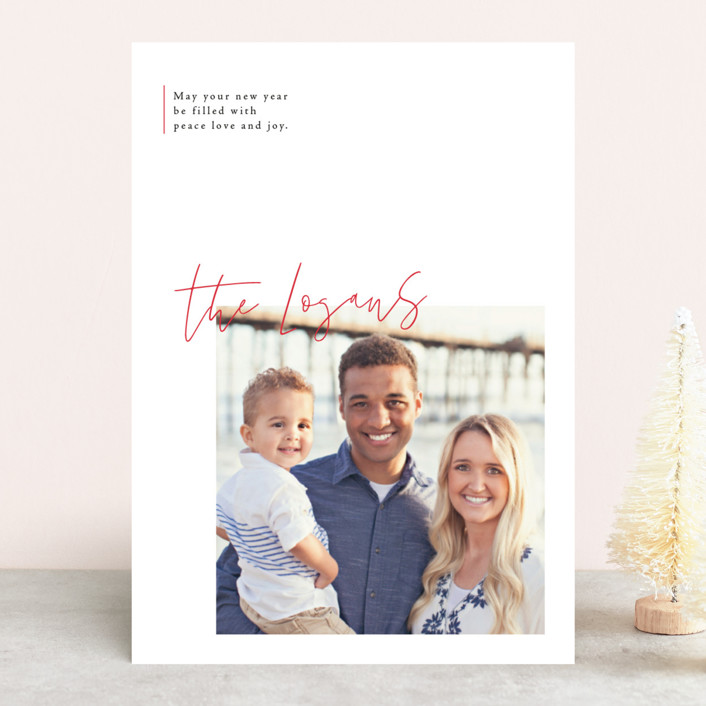 """""""modern sentimental"""" - Christmas Photo Cards in Engine Red by Design Lotus."""