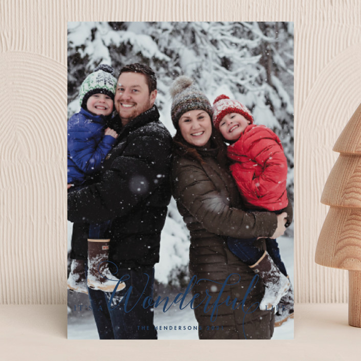"""""""A Wonderful Life"""" - Christmas Photo Cards in Navy by Qing Ji."""