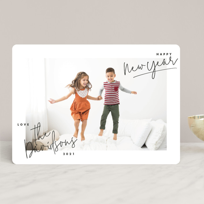 """""""hand-written holiday"""" - Christmas Photo Cards in Ebony by Lindsay Stetson Thompson."""