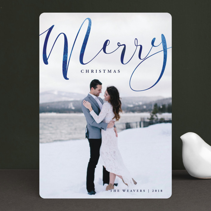 """""""Merry Ink"""" - Editor's Picks Christmas Photo Cards in Indigo by Olivia Raufman."""