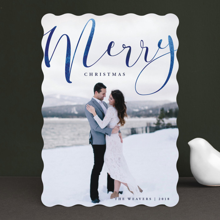 """""""Merry Ink"""" - Christmas Photo Cards in Indigo by Olivia Raufman."""