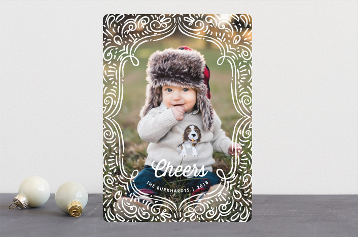 """Drawn Frame"" - Vintage Christmas Photo Cards in Snow White by Snow and Ivy."