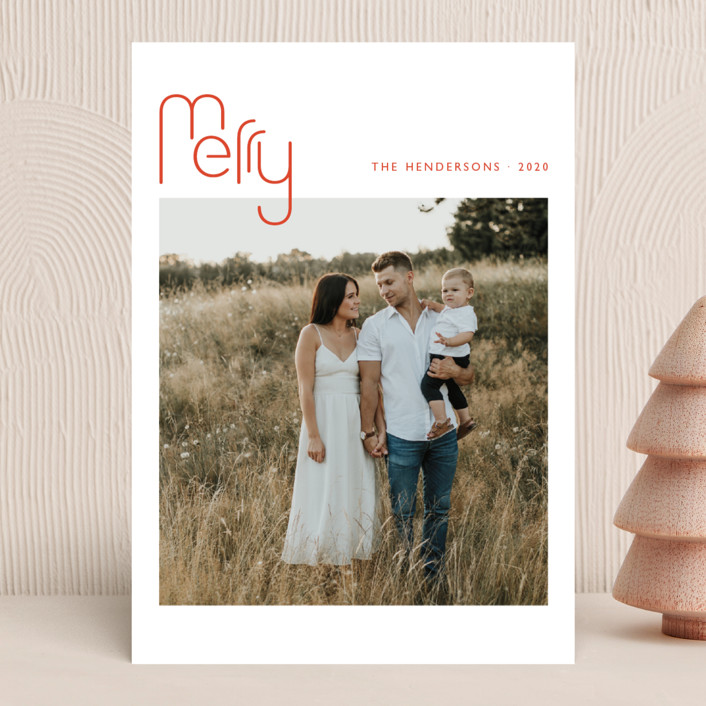 """""""Geo Merry"""" - Modern Christmas Photo Cards in Candied Orange by Magdalena Earnest."""