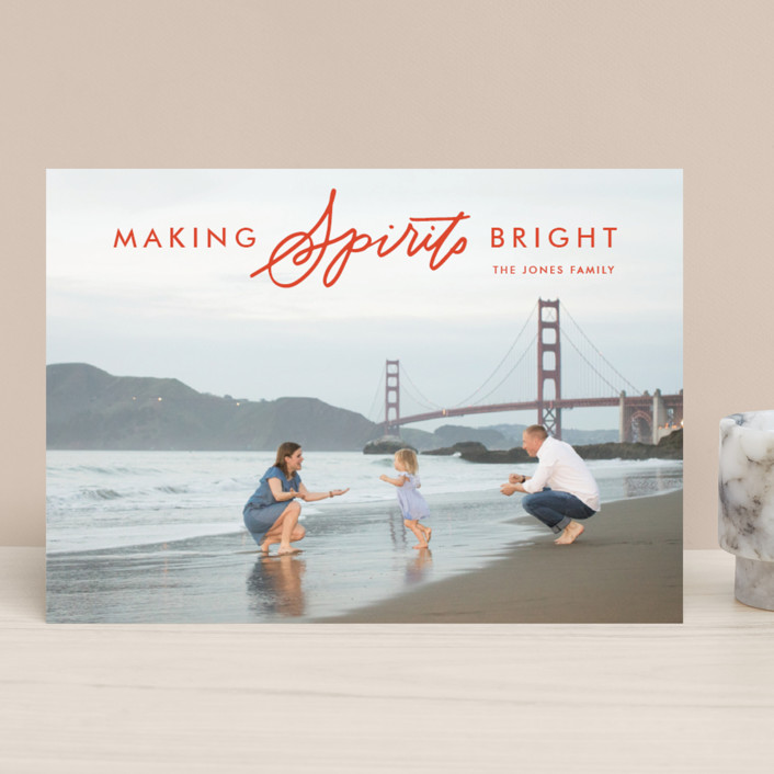 """""""Making Bright Spirits"""" - Christmas Photo Cards in Berry by Alaina Cherup."""