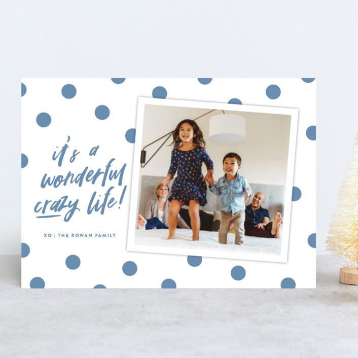 """Wonderful Crazy"" - Modern Christmas Photo Cards in Night Sky by Oscar & Emma."