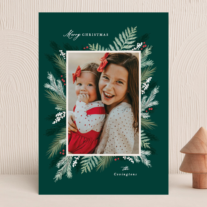 """""""Winter Botanicals"""" - Christmas Photo Cards in Evergreen by Hooray Creative."""