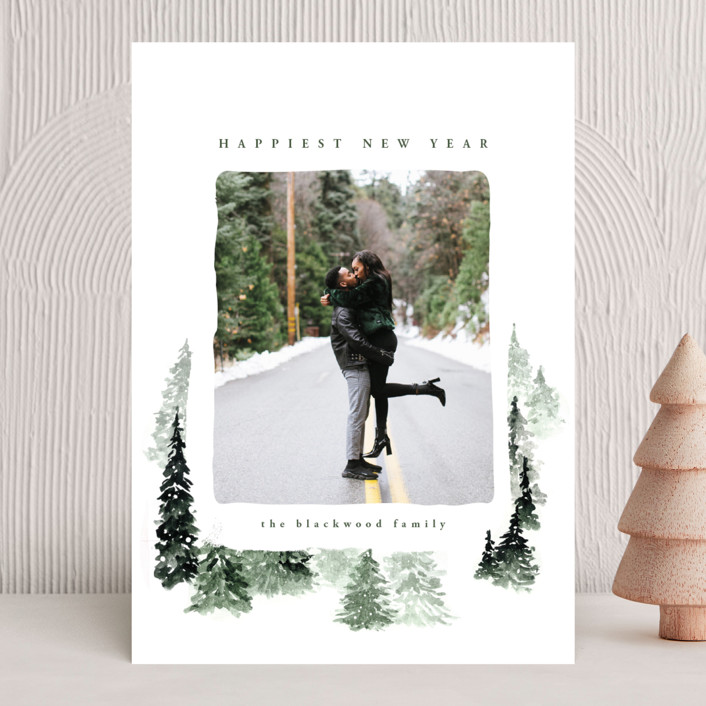 """fall of snow"" - Bohemian Christmas Photo Cards in Evergreen by Anastasia Makarova."