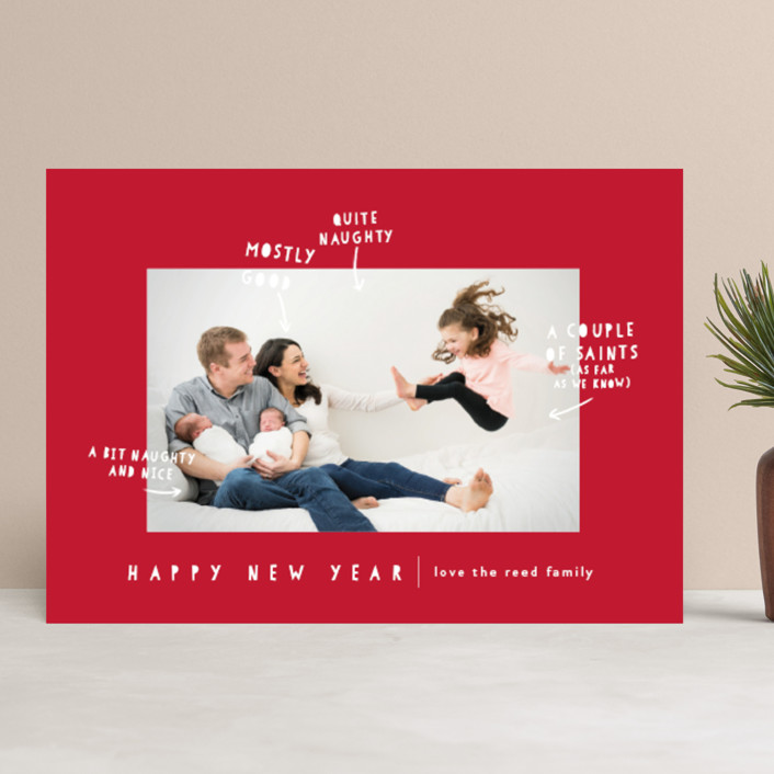 """""""Naughty Nice"""" - Funny Christmas Photo Cards in Midnight by Lori Wemple."""