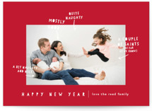 This is a red photo christmas card by Lori Wemple called Naughty Nice with standard printing on smooth signature in standard.