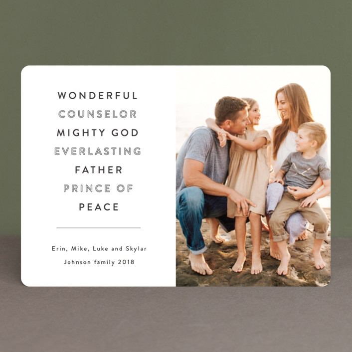 """Wonderful Counselor"" - Christmas Photo Cards in Slate by Kasia Labocki."