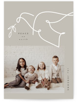 This is a grey photo christmas card by Corinne Malesic called Minimalist Dove with standard printing on signature in standard.