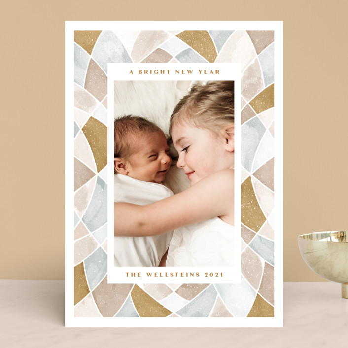 """Stained Glass Frame"" - Modern Christmas Photo Cards in Glass by Erin German."