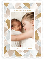 This is a yellow photo christmas card by Erin German called Stained Glass Frame with standard printing on smooth signature in standard.
