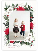 This is a red photo christmas card by Susan Moyal called Floral Surround with standard printing on smooth signature in standard.