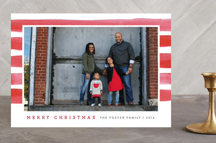 """""""Candy Cane Watercolor"""" - Christmas Photo Cards in Cherry by Michelle Taylor."""