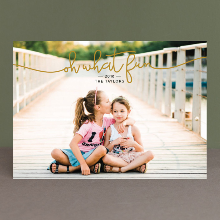 """What Fun"" - Christmas Photo Cards in Dove by Christine Taylor."