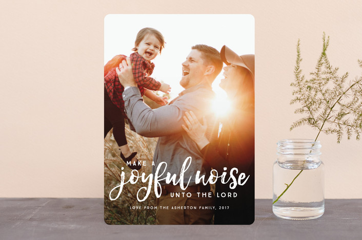 """Make a joyful noise"" - Christmas Photo Cards in Peppermint by Lea Delaveris."