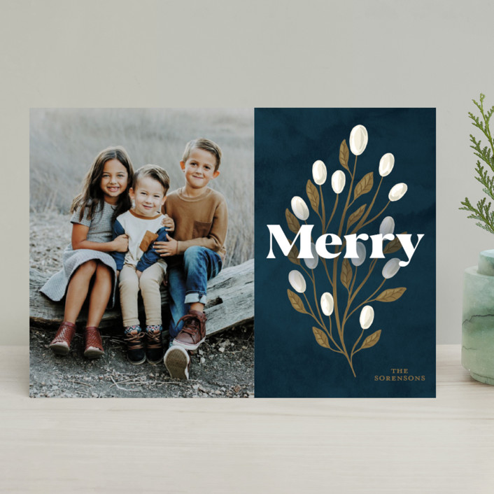 """""""Branch And Berries"""" - Christmas Photo Cards in Navy by GeekInk Design."""