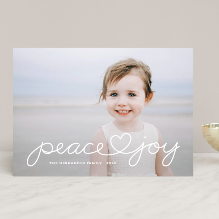 """""""Peace Heart Joy"""" - Christmas Photo Cards in Lime by Kim Dietrich Elam."""