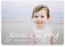 This is a white photo christmas card by Kim Dietrich Elam called Peace Heart Joy with standard printing on smooth signature in standard.