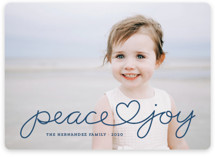 This is a blue photo christmas card by Kim Dietrich Elam called Peace Heart Joy with standard printing on smooth signature in standard.