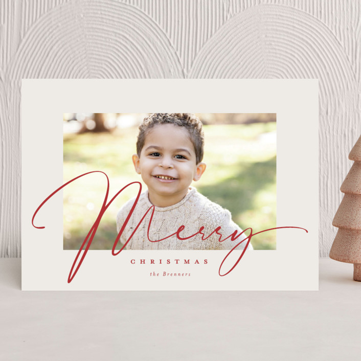 """""""Milk and Cookies"""" - Christmas Photo Cards in Holly Berry by Carrie ONeal."""