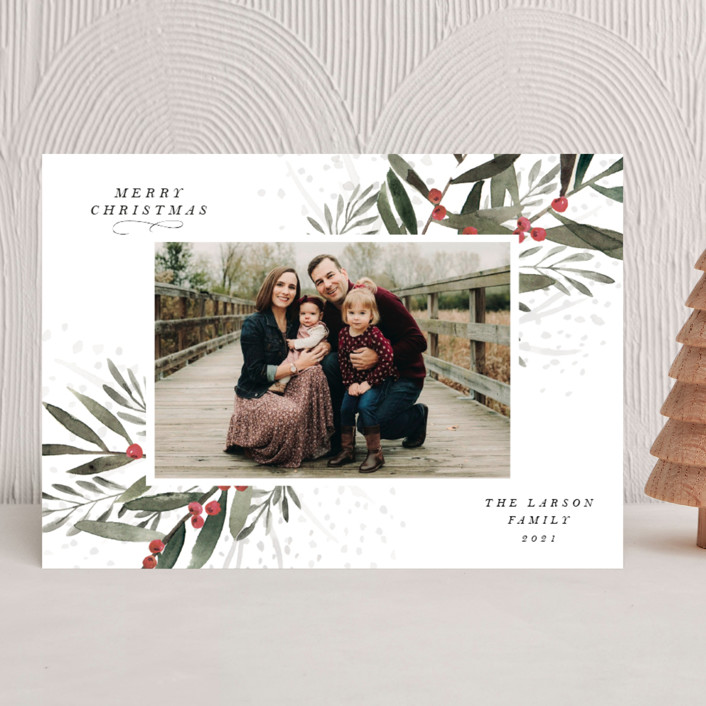 """""""Holly Branches"""" - Christmas Photo Cards in Snow by Lissabeth Anglin."""