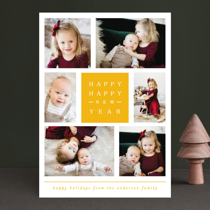 """merry happy and bright"" - Christmas Photo Cards in Gunmetal by Michelle Poe."