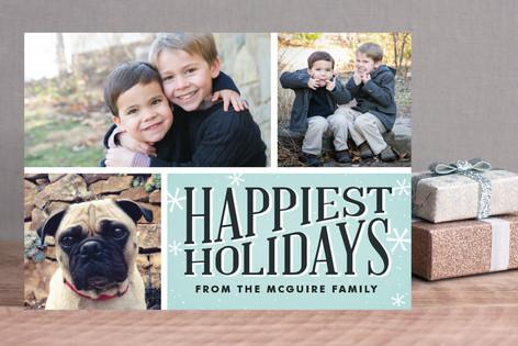 Retro Snowflakes Christmas Photo Cards