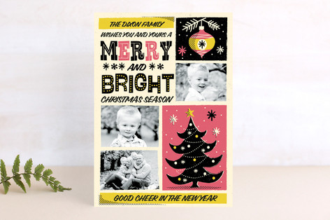 Retro Whimsical Poster Christmas Photo Cards