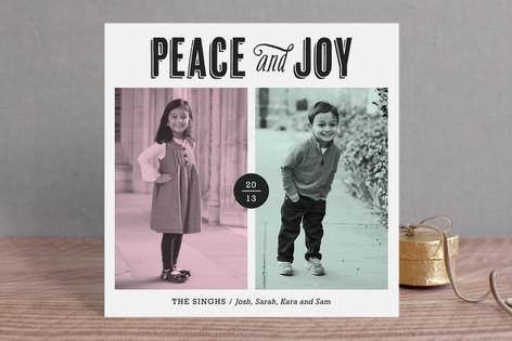 Modern Peace & Joy Christmas Photo Cards