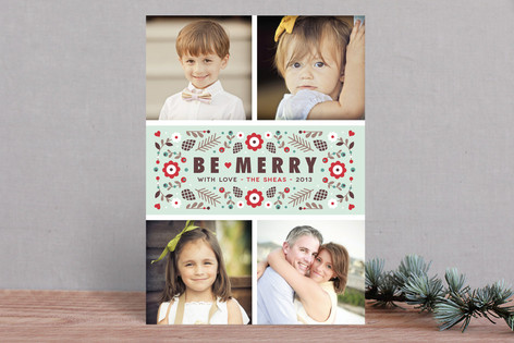Merry Florals Christmas Photo Cards