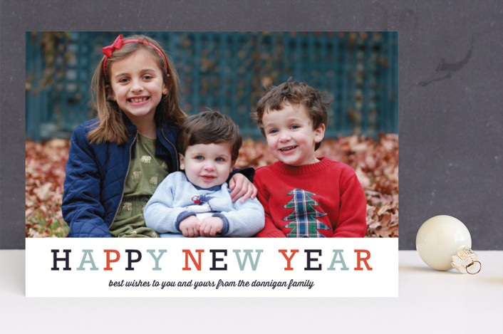 """Famille"" - Minimalist, Modern Christmas Photo Cards in Tangerine by Carrie ONeal."