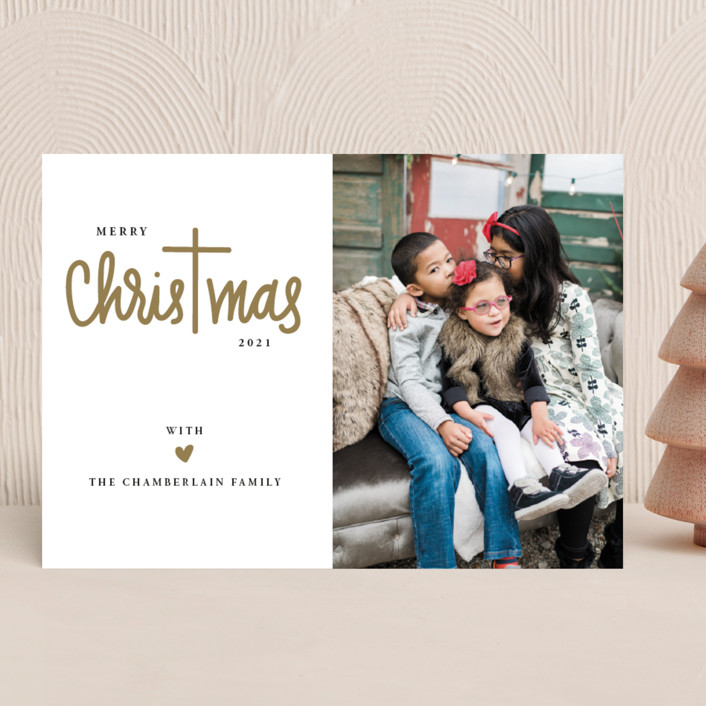 """""""Christ in Christmas"""" - Christmas Photo Cards in Reindeer Antlers by Up Up Creative."""